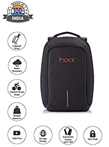 Hoox 16-inch Synthetic Anti Theft Business Bag with USB Charging Port and Music AUX Extension (Black)