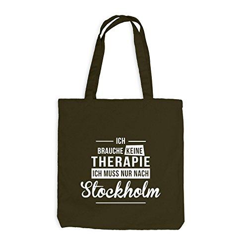 Jutebeutel - Ich Brauche Keine Therapie Stockholm - Therapy Urlaub Schweden Olive
