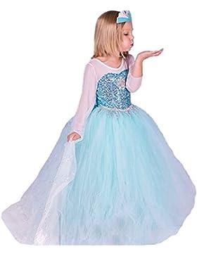 ELSA & ANNA® Mädchen Prinzessin Kleid Verrücktes Kleid Partei Kostüm Outfit DE-FR200