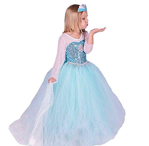 ELSA & ANNA® Ragazze Principessa abiti partito Vestito Costume IT-FR200 (IT-FR200, 6-7 Anni)