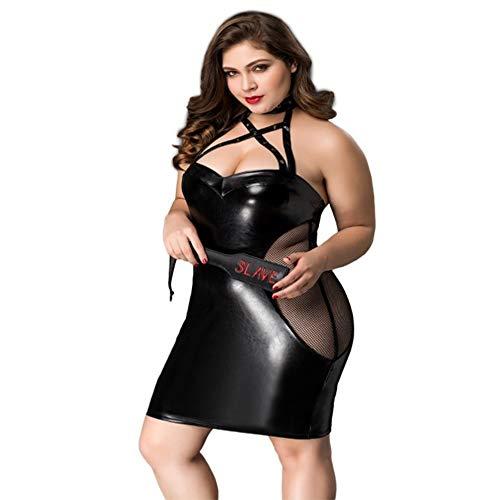 XDXDO Damen große erotische Unterwäsche Perspektive sexy Spitze Kunstleder elastischer Bund Rock Stretch Wet Look Bleistift ausgestattet Röhrenrock -