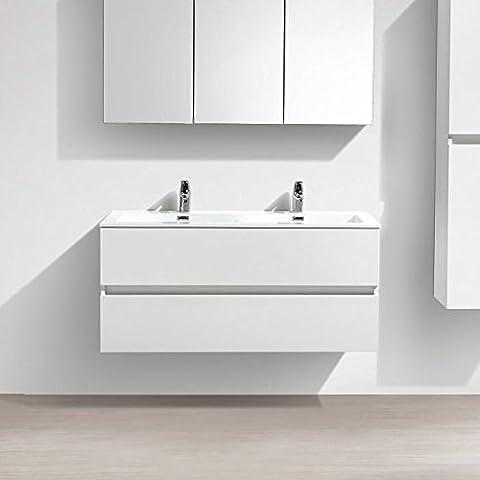 Meuble salle de bain design double vasque SIENA largeur 120 cm, blanc laqué