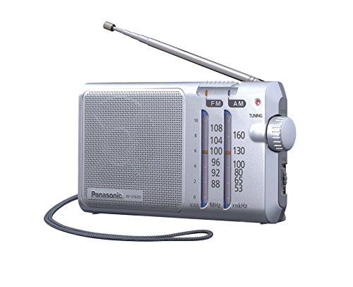 Panasonic RFU160DEGS Tragbares Radio mit Trageriemen, Netz- oder Batteriebetrieb silber