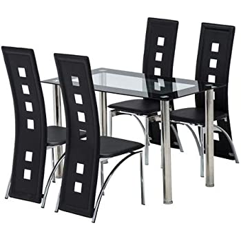 5d608ec776bc mecor Glass Dining Table and Faux Leather Chairs Dining Kitchen Furniture