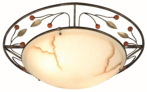 Globo Deckenleuchte rost Deko-blätter  Glas marmor  2 x 40 W, E27, 230 V, H: 15 cm ø 49.5 cm 44130-2