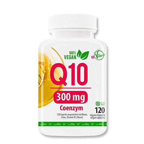 MeinVita Coenzym Q10-300mg - extra hochdosiert - 120 Kapseln - 100% Vegan - Bioaktiv, 4 Monatsvorrat, Premium Q10 aus pflanzlicher Fermentation, 71 g