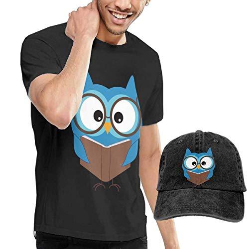 Baostic Herren Kurzarmshirt Smart Owl Fashion Men's T-Shirt and Hats Youth & Adult T-Shirts -