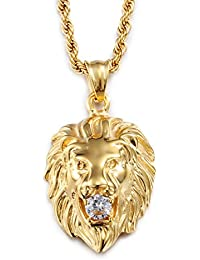 yorwell de hombre colgante de cabeza de león con cadena de 22pulgadas, de acero inoxidable chapado en oro