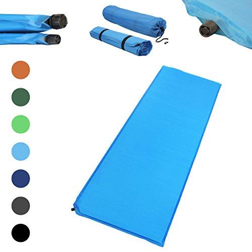 Outdoor Isomatte, selbstaufblasend, ca. 2 m Länge, inkl. Flick Set - selbstaufblasbare Luftmatratze geeignet zum Camping und fürs Zelt mit kleinem Packmaß (hellblau, 6 cm Polsterdicke)