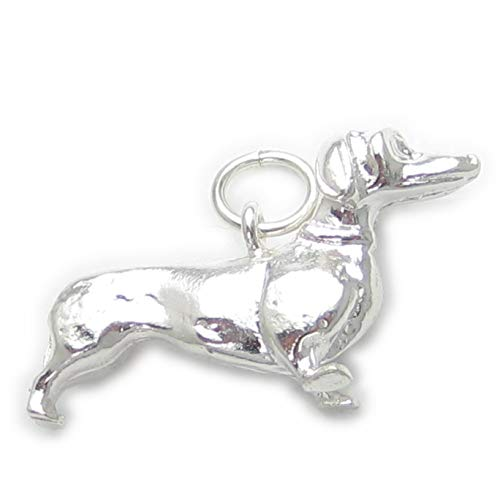 Ciondolo in argento sterling 925, motivo: 1 wurstel EC346 cane charms cani