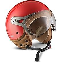 2e26c4dde4101 SOXON SP-325-MONO Red · Urban Chopper Cruiser Moto motocicleta Vintage Casco  Demi