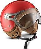 SOXON SP-325-MONO Red · Jet-Helm Cruiser Vespa-Helm Roller-Helm Chopper Bobber Pilot Motorrad-Helm Biker Mofa Vintage Scooter-Helm Retro Helmet · ECE zertifiziert · mit Visier · inkl. Stofftragetasche · Rot · L (59-60cm)