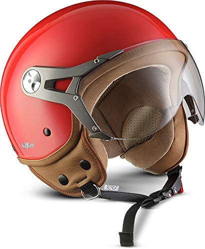 SOXON SP-325-MONO Red · Jet-Helm Motorrad-Helm Cruiser Vintage Chopper Helmet Scooter-Helm Bobber Pilot Roller-Helm Retro Vespa-Helm Biker Mofa · ECE zertifiziert · mit Visier · inkl. Stofftragetasche · Rot · M (57-58cm) Vintage Chopper