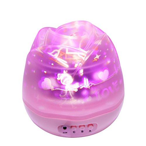 Ecandy 360 notturna con scivoli 4 proiezione, cosmo romantiche del proiettore del cielo della luna della stella, lampada da letto idea per bambini e neonati rotanti-rosa