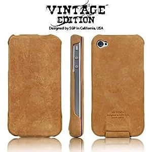 SPIGEN SGP Leather Pouch Vintage Edition Brown Flat for Apple iPhone 4