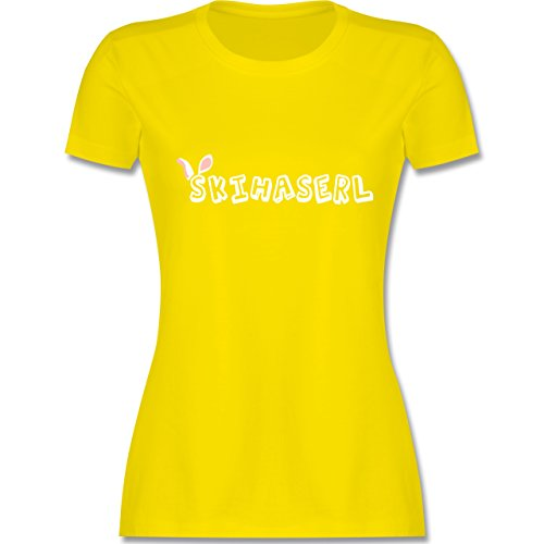 Après Ski - Skihaserl - tailliertes Premium T-Shirt mit Rundhalsausschnitt für Damen Lemon Gelb