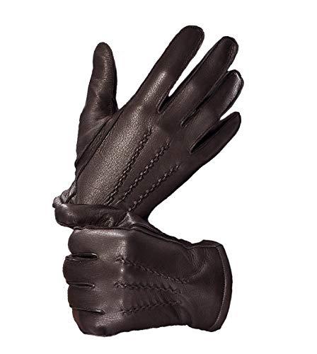 YISEVEN Herren Hirschleder Handschuhe Kaschmir gefüttert Elegant Winter Warm Leder Autofahrer Handschuhe, Braun XL/10.0