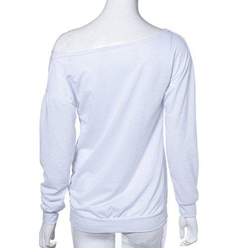 Sunnywill Lange Ärmel Mode Winter Brief drucken lose Sweatshirt lässige Pullover Top für Mädchen Damen Weiß,B