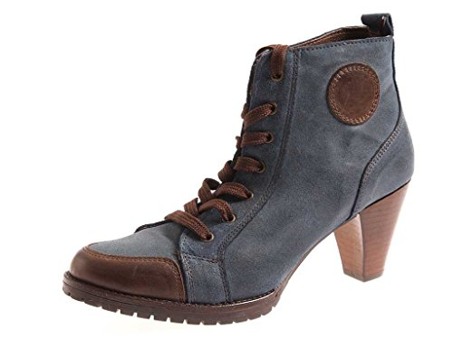 Isabelle Schnürstiefelette Combat-Boot Lederstiefelette Lederschuhe Schuhe Blau