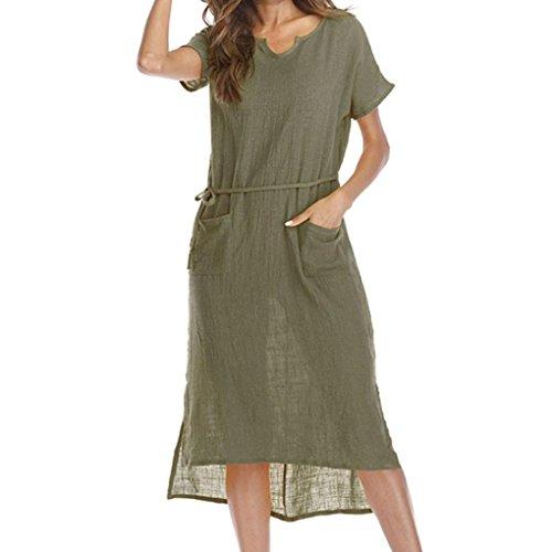 TUDUZ Frauen Sommer Casual Große Größen V-Ausschnitt Lose Tasche Taille Hem Asymmetrische Kleid(XXXXL,Grün) (Roll Hem Shorts)