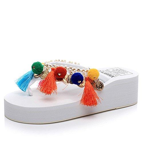 5,5cm pantoufles de mode d'été féminin Chaussures hautes en nylon à fond fait à fond profond (noir / beige / bleu / rose / blanc) ( Couleur : Bleu , taille : EU38/UK5.5/CN38 ) Blanc