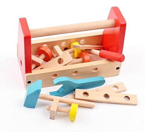 B&Julian Werkzeugkasten Kinder Holz 16 TLG. mit Zubehöre Handwerker Set für Kinder ab 18 Monate