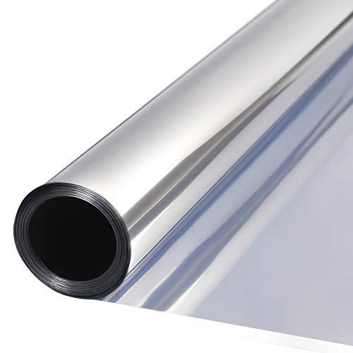 TTMOW Vinilo Pet Película Adhesiva Lámina de Espejo para Ventanas Cristal Unidireccional Protector de Privacidad Anti 99% UV y Anti 85% IR para Hogar y Oficina (60 * 200cm)