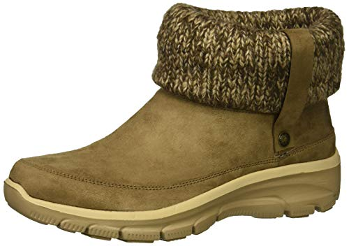 Skechers Easy Going-Heighten, Botines para Mujer, Taupe Microfiber/Knit TPE, 5 EU