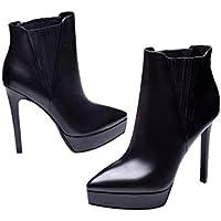YYH Vera pelle tacchi a spillo signora elastico Martin Boots . black . 34