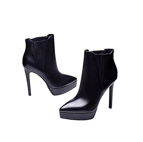 YYH Bande élastique Madame de talons aiguilles en cuir véritable Martin bottes , black , 35
