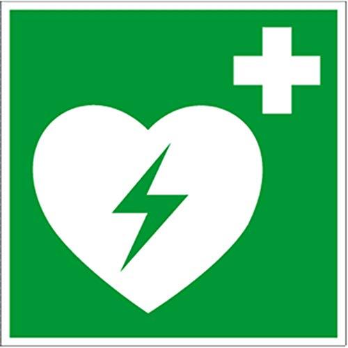 Hinweisschild auf einen Defibrillator (AED Automatisierter externer Defibrillator) gem. ASR A1.3 Folie 20x20cm (Rettungsschild) praxisbewährt, wetterfest -