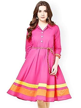 Trendz Women's Satin Kurta (PINK_KURTI001 _Large_Pink)