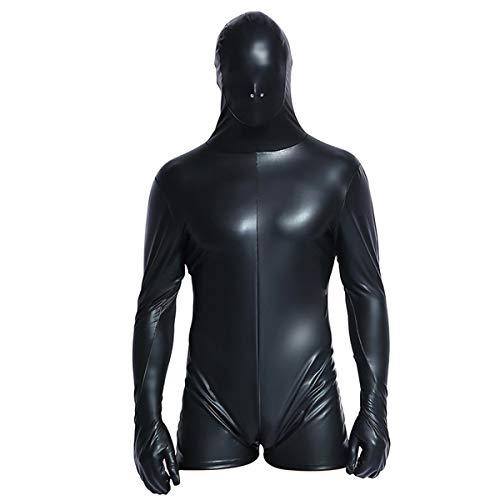 Xinbeauty Herren Sexy Kunstleder Unterwäsche Sensorische Deprivation Maske Augenbinde Atmungs Overall Bondage Hood Handschuhe Cosplay Kostüm