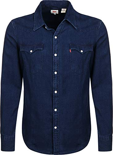 Levi's Barstow Western Chemise en Jean, Bleu (Indigo Flannel Mid T2 H2 19 0322), Large Homme