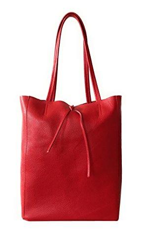 RW Fashion, Damen Shopper Leder soft Made in Italy Schultertasche Henkeltasche im angesagten Metallic-Look, SH30441, ca 37 x 40 x 13 cm (Rot)