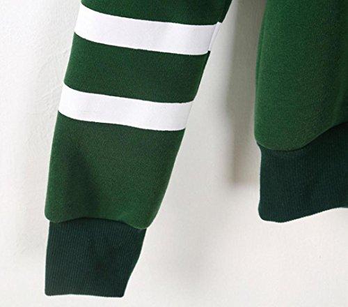Reasoncool Autunno con cappuccio sportivo Felpa con cappuccio per ricami donna Pullover Casual in cotone Blous Blouson Streetwear Ragazz --Carinae Verde A
