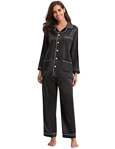 - 418wd 9wuVL - Aibrou Women's Satin Pajamas Set, Long Sleeved and Long Button-Down Sleepwear Loungewear For All Seasons