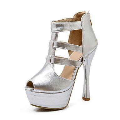 Sandales femmes Été Automne Gladiator Confort Chaussures Club PU robe de mariage partie & soir Fermeture éclair talon aiguille Noir Argent Or Walking Silver