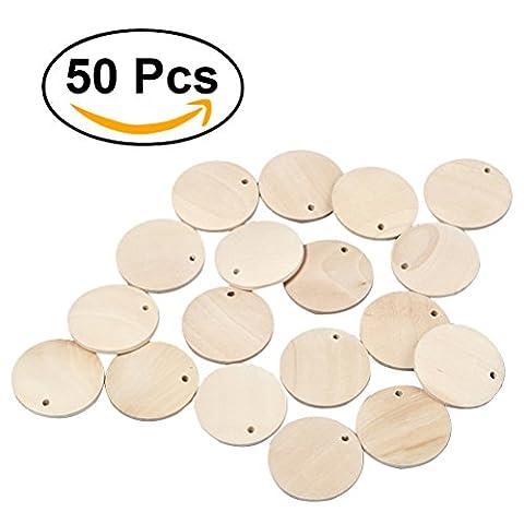 ULTNICE 50pcs Pièces de bois rondes Tranches de bois avec