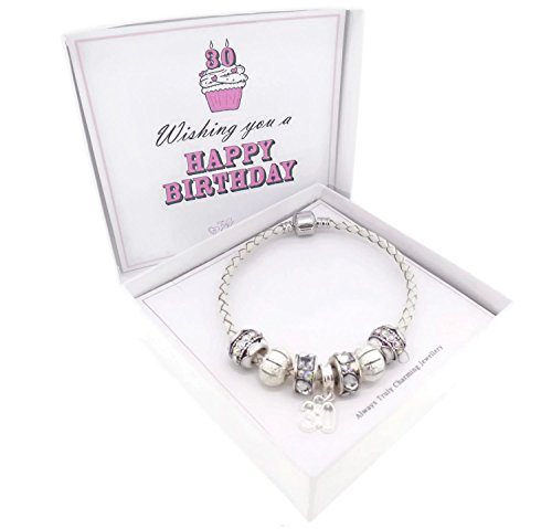 30th Birthday Leather Charm Bracelet Pandora Style Gift Boxed 19cm