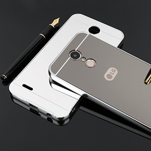Spiegel Hülle Mirror Case TPU Schutzhülle Silikon Handyhülle Tasche Case Cover für LG K4 (2017 EURO VERSION), Gold Schwarz