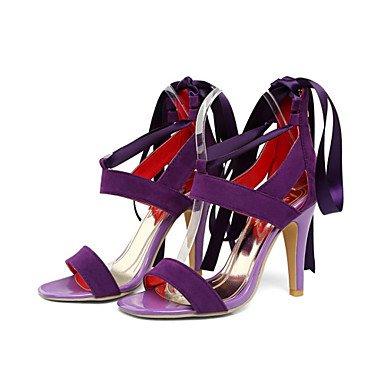 LvYuan Damen-Sandalen-Kleid Lässig Party & Festivität-Satin Samt-Stöckelabsatz-Neuheit Club-Schuhe-Schwarz Blau Lila Rot Purple