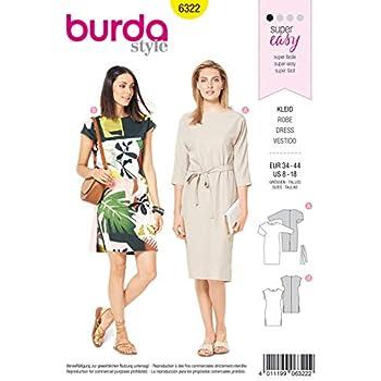 Taschen Gr Schnittmuster Burda 6310 Jerseykleid 36-46 Shirtkleid mit Kapuze
