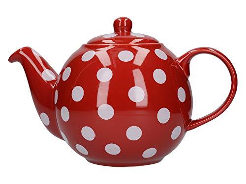 London Pottery Globe Teekanne f?r 6 Tassen rot mit wei?en Punkten Rote Keramik