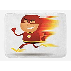 VTXWL Superhero Bath Mat, Lightning Bolt Man with Cape and Mask Fast Fun Cartoon Character Artwork Print, Plush Bathroom Decor Mat with Non Slip Backing, 23.6 W X 15.7W Inches, White Red