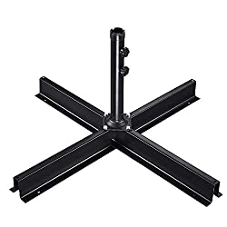 ReaseJoy Patio Umbrella Stand Cross Base Outdoor Offset Umbrella Metal Frame Non-Weighted Used with Weight Plates