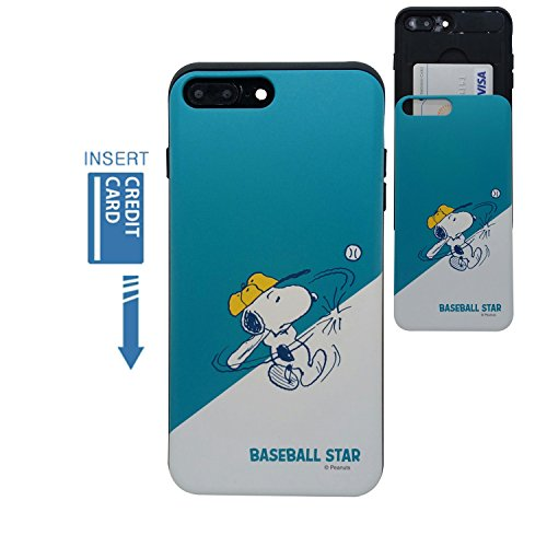 [iPhone 7 Plus Wallet Case/iPhone 8 Plus Wallet Case] Kubrick Peanuts Snoopy Slide Bumper Case Dual Layer Card Wallet Halter, Snoopy Baseball