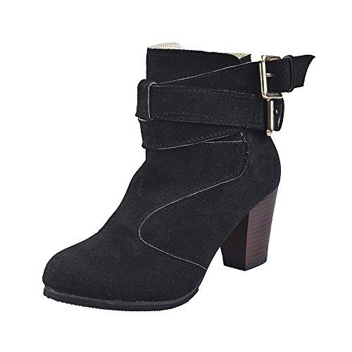 Stiefel Damen Sunnyadrain lässig Vliese Reine Farbe Zip Knöchel Spitze Zehen Hohe Ferse Herbst Winter Schuhe Wedges High Heel Stiefeletten für Frauen