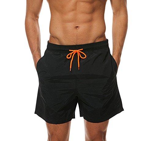 Herren Badeshorts Freizeit Kurze Badehose Schnell Trocknend Strandshorts Sommer Schwimmhose Beachshorts Bermuda Shorts (Schwarz, XL)