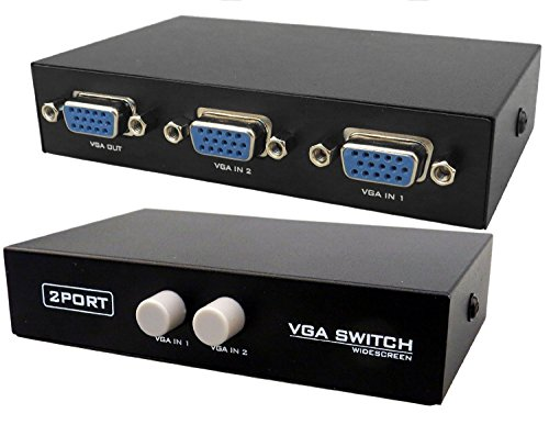 VistaraTrade 2 port VGA Switch High quality video, highest resolution upto (1920X1440) Black